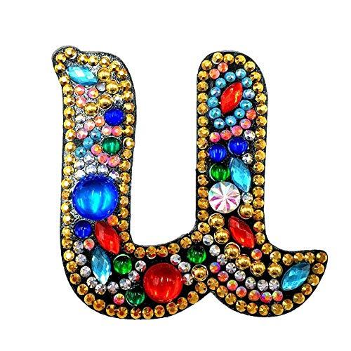 DEHUAART Bricolage Diamant Porte-clés Diamant Peinture Lettre A-Y Porte-clés Porte-clés Point de Croix Broderie Femmes Sac Porte-clés décoration U