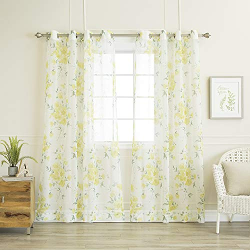 Best Home Fashion Closeout Faux Linen Watercolor Rose Print Sheers Curtains - Stainless Steel Nickel Grommet Top - Yellow - 52' W x 84' L - (Set of 2 Panels)