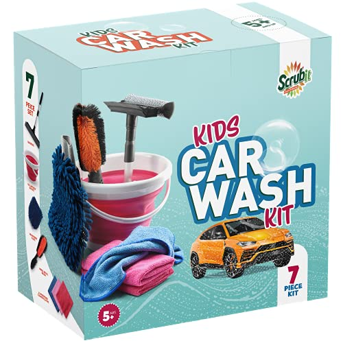 Kids Car Wash Activity Kit – 7 Unique Kid-Sized Carwash Accessories Gifts for Boys & Girls - Outdoor Family Fun Toys – Set includes Bucket, Squeegee, Microfiber Mitt, Wheel Brush, 3 Cleaning Cloths