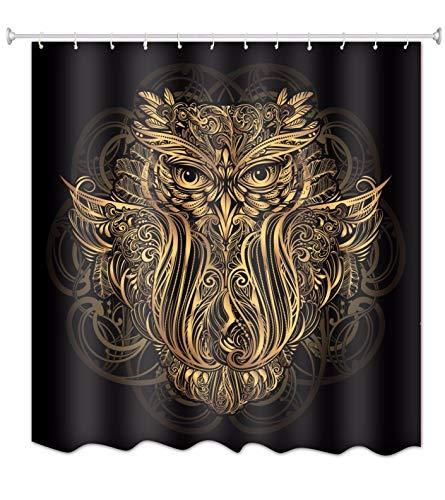 A.Monamour Vintage Ethnische Bobo-Stil Eule Tattoo Totem Muster Drucken wasserdichte Stoff Polyester Duschvorhang Für Bad Dekore 180X180 cm / 72X72 Zoll