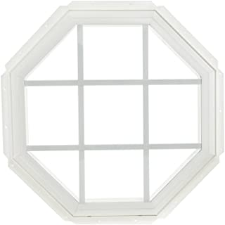 Park Ridge Vinyl Octagon Fixed Window with Insulated Clear Glass & Grids, 22 x 22