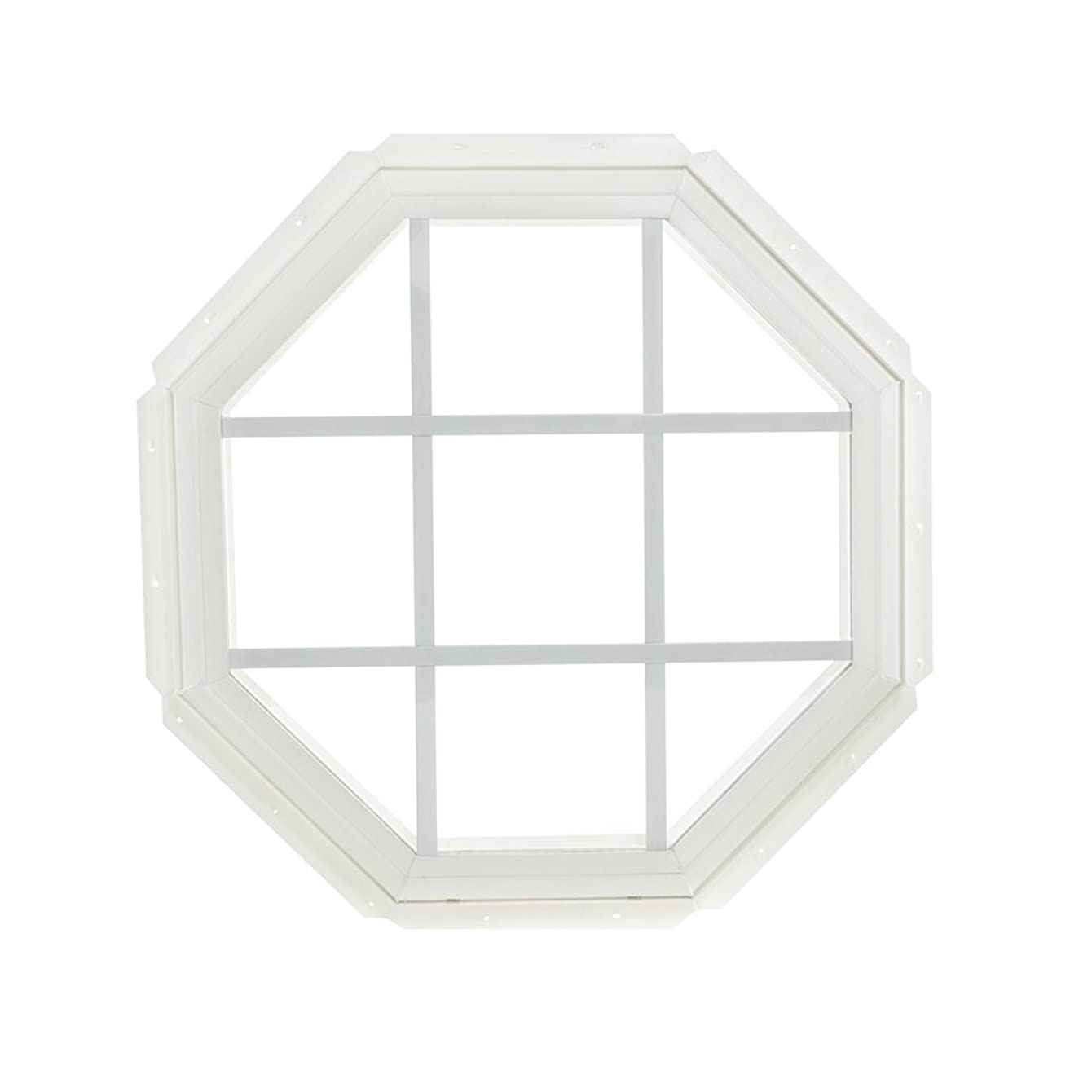 Park Ridge Vinyl Octagon Fixed Window with Insulated Clear Glass & Grids, 22