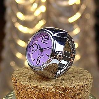Perfect Home 2PCS L04 2018 Dial Quartz Analog Watch Creative Personality Steel Cool Elastic Quartz Finger Ring Watch Men Women Fashion (Color : Purple)