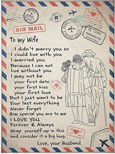 LOVEXIN Manta de Franela para mi Esposa Manta de Lana con Estampado de Carta de Mensaje para Esposa Regalos de cumpleaños Navidad,150 * 220