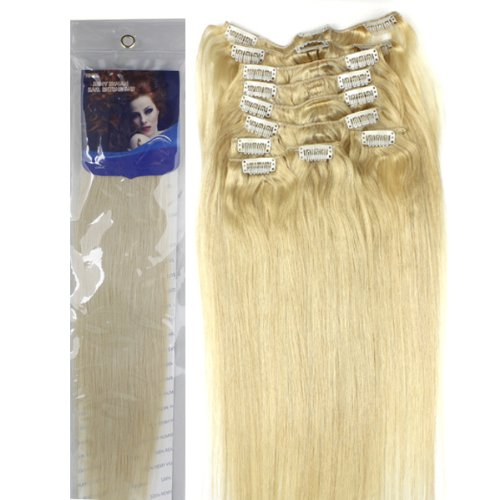 50,8 cm 10 couleurs pour votre choix pleine tête Clip en Extensions de cheveux humains remy hair 120 g Poids de grande qualité.
