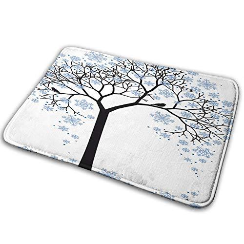 Felpudo de interior, silueta con hojas de copo de nieve, interpretación dibujada a mano, alfombrilla de puerta trasera de goma, antideslizante, 40 x 60 cm
