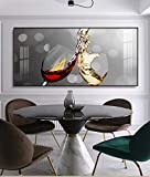 ImpresióN De Pintura En Lienzo Y Carteles Resumen Copa De Vino Tinto Comedor Y Pared De La Cocina DecoracióN Moderna Del Hogar ImáGenes De Arte De Pared 60x120cm Sin Marco