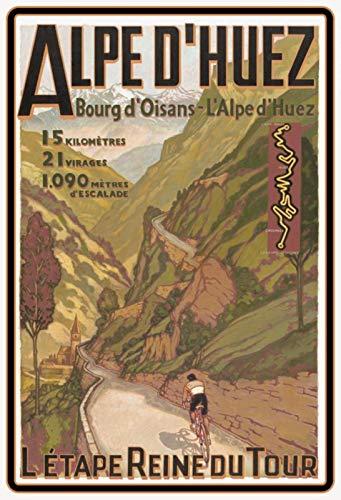 Schatzmix 20x30 cm Tour de France Alpen Etappe Fahrrad Rennrad Metall Schild Blechschild, Blech