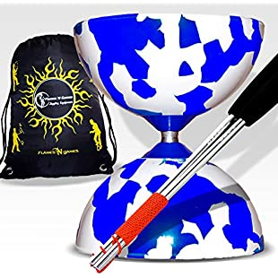 Jester Diabolos + Metal Diabolo Sticks, Diablo String & Travel Bag!(Blue/White)
