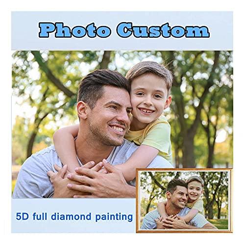 Photo Personnalisée Diamant Broderie 5D Diy Diamond Painting,Peinture au diamant Personnalisée Privée,Diamonds Painting Arts pour la Maison Mur Décor (Diamant carré 50 * 50CM)