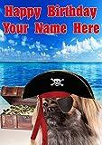 Tarjeta de felicitación de cumpleaños tamaño A5 personalizable, diseño de perro español, j640, con texto en inglés'Happy Birthday'