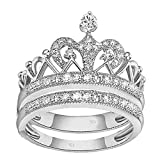 VPKJewelry 2.00 ct Real 925 Sterling Silver Wedding Engagement Crown 2 pc set Ring Women Ladies (11.5)