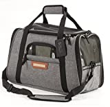 Pawfect Pets Pet Travel Carrier, Soft-Sided with Two Pet Mats for Small Dogs and Cats (Charcoal Grey)