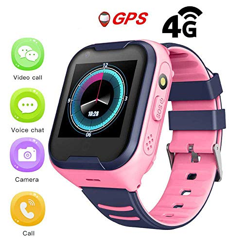 Reloj GPS para niños,IPX7 impermeable 4G Reloj inteligente para niños GPS para IOS Android,con video voz Chat Pago SOS Camera Alarm Clock,GPS/LBS Tracker,680MAH GPS Tracker Watch para niños niñas.
