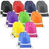 20 Pieces Multi Colors Drawstring Backpack Cinch Bags Reflective String Backpacks Sports Gym Sack Pack Bag