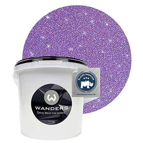 Wanders24® Glimmer-Optik (3 Liter, Silber-Lila) Glitzer Wandfarbe - Wandfarbe Glitzer - abwaschbare Wandfarbe - Glitzerfarbe - Made in Germany