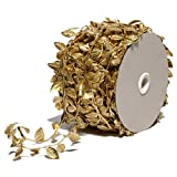 Gold Leaves Leaf Ribbon Trim Rope - 20 Yards - for Garland DIY Crafts and Party Wedding...