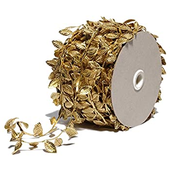 Gold Leaves Leaf Ribbon Trim Rope - 20 Yards - for Garland DIY Crafts and Party Wedding Home Decorations  Gold