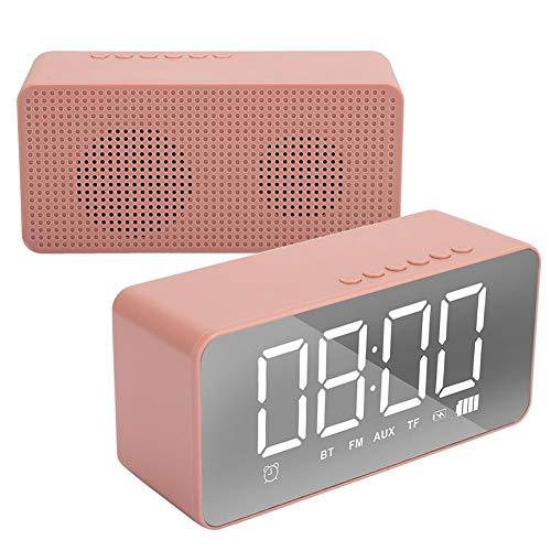 Despertador electrónico Multifuncional, Mini Bluetooth/Tarjeta de Memoria/Altavoz AUX 3D estéreo bajo Radio FM/teléfono móvil Llamada Manos Libres (Rosa)