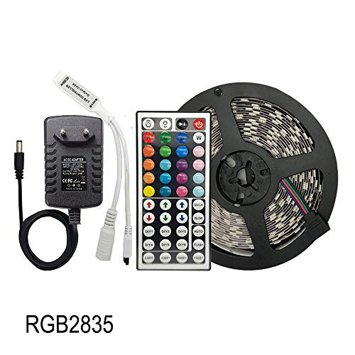 SHAND Led Light Strip RGB SMD 5050 flexibele Ribbon 30leds / m 5M 10M 15M Tape Diode DC 12V Led Strip, Led Controller + adapter SHAND (Color : RGB 2835, Size : 15m)