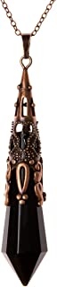 Bivei Retro Antique Brass 12 Facted Prism Chakra Necklace Gemstone Quartz Point Crystal Stone Healing Pendant