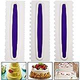Gurxi Cake Scraper Set Raspador de Borde de Crema de Mantequilla Herramienta de Bricolaje Cake Crema DIY para Decorar la Forma de Flecos de la Crema de Pastel Styling DIY 3 Piezas (Blanco)