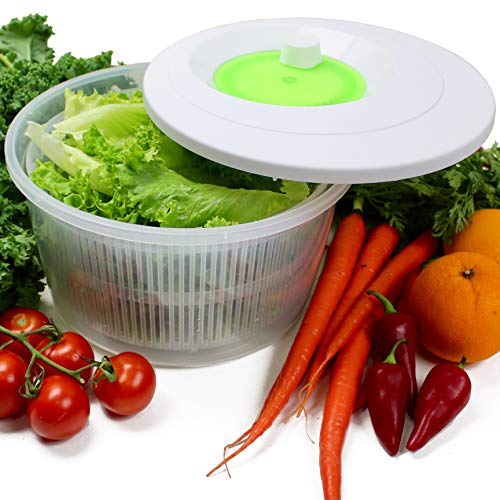 K Basix Large Salad Spinner 4.5 L – Fresh Vegetable, Lettuce or Spinach Dryer, Keeper, Crisper and Shaker, Compact Rotary Handle is Easy to Spin and allows Easy Storage