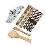 Herramienta de Sushi Tapetes para Enrollar Sushi Durable Conjunto de Bricolaje Set de 10 piezas de Sushi Persiana de Cortina de Rollo de Sushi de Bambú Palillos