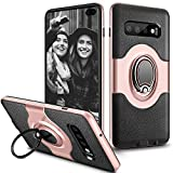ELOVEN Slim Case for Galaxy S10 Plus Case Metal Ring Holder Kickstand Shockproof Bumper Cover Antiscratch Hybrid Dual Layer Grip Protective Case for Samsung Galaxy S10 Plus, Rose Gold