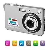 Bosszi Digitalkamera für Kinder, Kompakte Digitale Videokamera 18 Megapixel Wiederaufladbare Kamera Digital mit 2.7 Zoll 1280×720 HD LCD Bildschirm für Studenten/Senioren/Kinder (Silber)