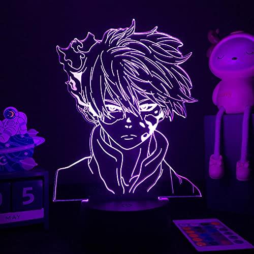 Lámpara de noche 3D con diseño de anime en 3D de Mi héroe akademia Shoto todoroki, figura de luz nocturna LED para niños, dormitorio juvenil, lámpara decorativa de mesa de regalo ZGLQ