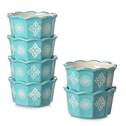 ZONESUM Porcelain Souffle Ramekins OvenSafe, 6.5 oz RamekinsforCremeBrulee, Country Style Souffle Dishes, Dessert Small Bowls, Custard Cups, Ceramic Baking Bowls for Pudding, Set of 6, Turquoise