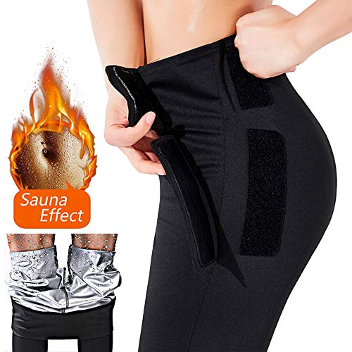 EGEYI Womens abnehmen Hosen Hot Thermo Neopren Sweat Sauna,Gewichtsverlust Hosen Sauna Hosen, Schwitzhose für Frauen Fettverbrennung (M)