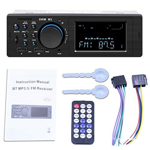 bilstereo bluetooth, digital mediaspelare, bilradio FM-radio, med 2 USB snabb laddning/SD/AUX / MP3-spelare stöder handsfree-samtal, trådlös fjärrkontroll