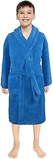 Boys Girls Solid Flannel Bathrobes Towel Casual Night-Gown Pajamas Sleepwear