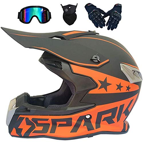 Casco integral de motocross, casco de quad para niños, todoterreno eléctrico Dirt Bike Atv Quad Bike MX 50cc Mini moto para adultos, cascos de moto para niños