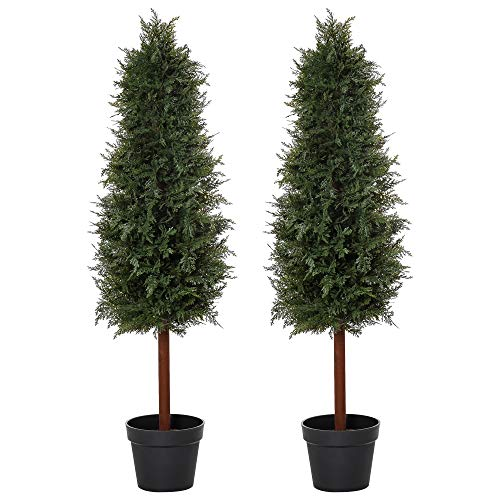 Outsunny Set Of 2 120cm/4FT Artificial Cedar Pine Trees Decorative Cypress Plant Fake Conifer Tree w/Heavy Pot Indoor Outdoor Home Office