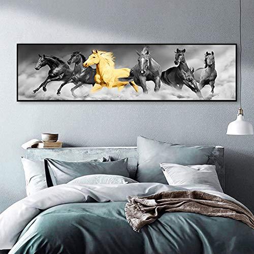 zgwxp77 Abstraktes goldenes Streamer Pferd Leinwandbild als dekorativer Druck Wandbild für Wohnzimmer Hintergrund, a, 20*60cm Frameless