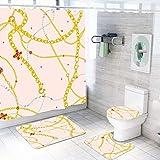 MQWEMJ Juego de 4 Cortinas de Ducha, Collar Amarillo Rosa con alfombras Antideslizantes, Tapa de Inodoro y Alfombrilla de baño, Cortina de Ducha, Tela Impermeable 180×200 cm