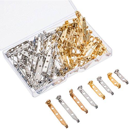 100 Pezzi Pin Spilla Fermagli per Spilla Chiusura di Sicurezza con Scatola Plastica, 4 Formati 20 mm, 25 mm, 32 mm e 38 mm (Oro e Argento)