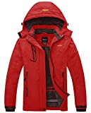 Wantdo Women's Waterproof Ski Jacket Warm Detachable Hood Coat Bright Red Large
