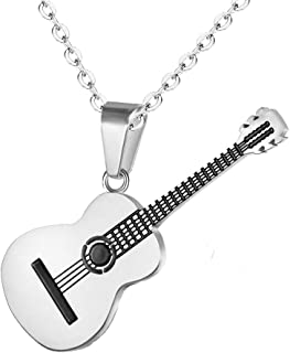 Men Women Guitar Pick Necklace with Adjustable Chain Hip Hop Music Style Titanium Steel Guitar Tag Pendant Jewelry Personalized Gift
