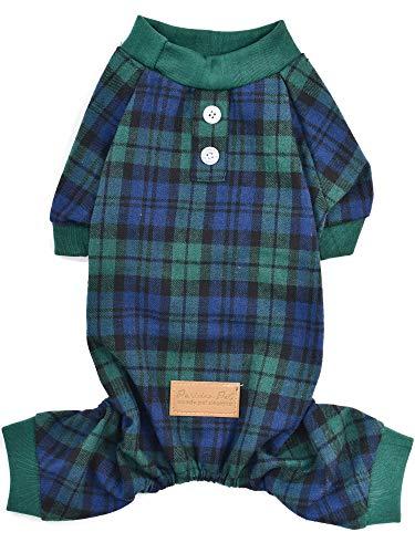 Pijama parisino para perro – Mono a cuadros para gatos y gatos – Talla 2XL – Camisa de cuadros verde escocesa – ideal para todos los días para perros y gatos