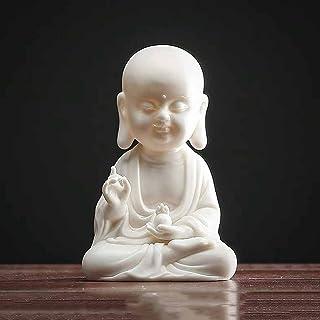 ZLBYB Creative White Porcelain Tea Pet Ceramic Office Home Teahouse Decor Small Buddha Statue Buddhist Temple Crafts Tea C...
