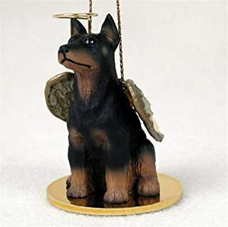 Ky & Co YesKela Doberman Pinscher Ornament Angel Figurine Hand Painted Black
