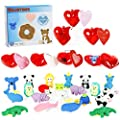 Neoformers 28 Pack Animal Erasers Party Favor with Heart Shells and Valentines Exchange Cards, Classroom School Valentines Gift for Kids, Carnival Game Prizes for Boys Girls