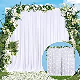 White Backdrop Curtain for Parties Weddings Baby Shower Birthday White Curtains Backdrop Drapes for Photography Bridal Shower Photoshoot 5ft x 7ft,2 Panels