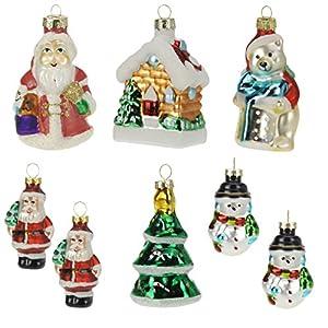 """Makeke Box – Christbaumschmuck aus Glas (8-teilig) – """"Santa und Eisbär"""""""
