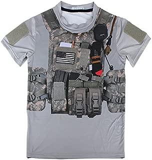 プレートキャリア プリント サバゲー Tシャツ 半袖 ミリタリー ACU グレー Lサイズ BDU-0070-ACU-GY-L