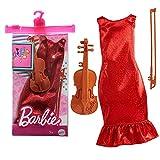 Barbie GRC53 - Juego de accesorios de moda para música con vestido rojo brillante y violín, a partir de 3 años